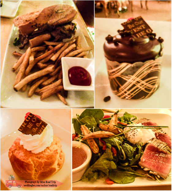 Be Our Guest | (top) T's Carved Roast Beef Sandwich & Triple Chocolate Cupcake (bottom) my Gluten-Free Lemon-Raspberry Cream Puff & Tuna Nicoise Salad