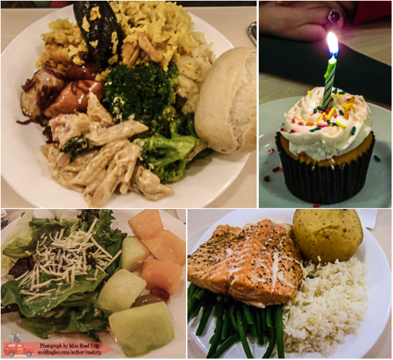 Crystal Palace | (top) T's smorgasbord, celebratory cupcake (bottom) my salad and salmon plate