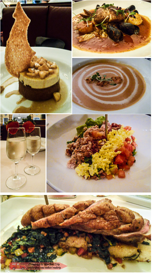Hollywood Brown Derby | (clockwise from top left) Banana White Chocolate Toffee Tower, Lobster Bisque, Cobb Salad, Duck with Herbed Goat Cheese Polenta Cake, Champagne