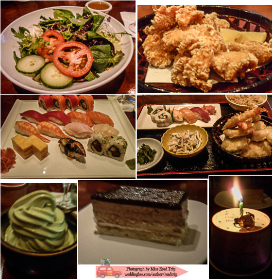 Tokyo Dining | (left) my Green Salad, Matsu sushi.sashimi plate, Green Tea Soft Serve (right) T's Karaage, Ginza plate, and Chocolate Ginger Cake (bottom right) A celebratory candy and origami ring