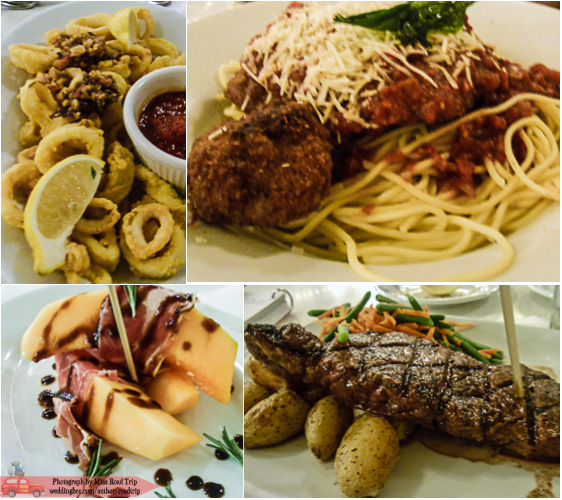 Tony's Town Square | (top) T's Calamari and Chicken Parmesan (bottom) my Prosciutto-Wrapped Melon and NY Strip